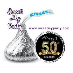 50th 60th 40th 30th Birthday Hershey Kisses Stickers, personalized Birthday Hershey stickers