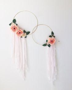 Gold Hoop Wreath, Silk Flowers Wreath, Modern Wreath, Floral Art, Wall Hanging, Nursery Wall Hanging, Baby Room Hanging, Fabric Wall Art