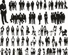 Fashion and Business People Silhouettes Vector Fashion and Business People…