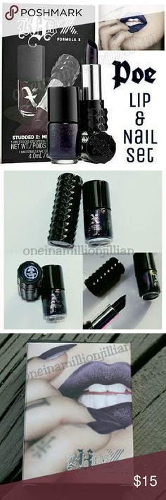 🎁 Kat Von D / Sephora Lip & Nail Set - Poe LIMITED EDITION & NO LONGER AVAILABLE  New - Never Used  AUTHENTIC  Color: Poe (shimmer navy)  Includes: ☆ KVD Lipstick - .04oz travel sz ☆ Sephora Nail Polish - .13oz travel sz  A lip & nail duo featuring a Kat Von D Studded Kiss Lipstick with its exact Formula X Nail shade match in a cult-favorite shade.  Formula X Nail & famed tattoo artist & beauty phenomenon Kat Von D colaborated to create the perfect matchup of extraordinary pigment…
