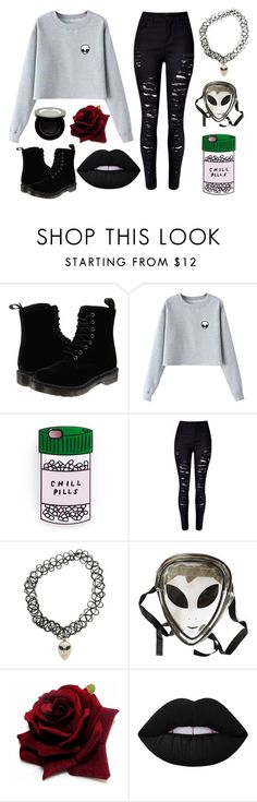 """""""You're from a different world"""" by fashionforlife290801 ❤ liked on Polyvore featuring Dr. Martens, Chicnova Fashion, WithChic, Lime Crime, Shany, black, grey, Alien and emoji"""