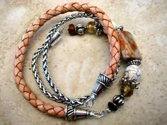 """Triple Wrap Boho Natural Leather Braided Beaded Bracelet with Silver, Jasper, Swarovski Crystal Accents....""""FREE SHIPPING""""  by LeatherDiva, $39.00"""