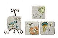 """BIRDS+&+BUGS+COASTERS,+SET+OF+4,+3.75""""SQ+RESIN+COASTERS+W/+METAL+STAND"""