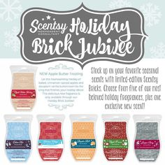 Holiday Bricks are BACK! Plus a new one: Apple Butter Frosting! Get them while they last! They are only available for the month of November 2015! Contact me today! 512-710-7772 or at https://scented4life.scentsy.us/