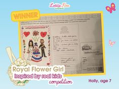 Royal Flower Girl Lottie - Inspired by real kids competition - WINNER - Holly age Competitions For Kids, Steam Toys, Toys For Girls, Coloring Pages For Kids, Doll Accessories, Dolls, Inspired, Flower, Inspiration