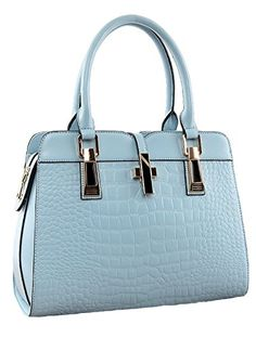 Ilishop Women's Genuine Leather New Office Lady Casual Vintage Crocodile Top Handle Tote Shoulder Crossbody Bag Satchel Purse Handbag (Light-blue) * More info could be found at the image url.