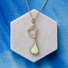 Geometric Labradorite Gemstone Pendant. Discover the latest, trend-led jewellery from the UK's best small creative businesses.