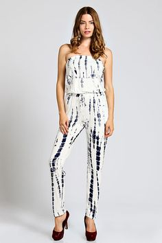 BAMBOO PRINT STRAPLESS JUMPSUIT-Navy/Off white