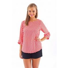 EVERLY:Zig Zag Parade Blouse-Red - $40.00