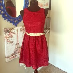 Red Wine crochet dress Beautiful red wine color. Crochet with lining under neath. Belt not included. Works for both fall and summer! Francesca's Collections Dresses
