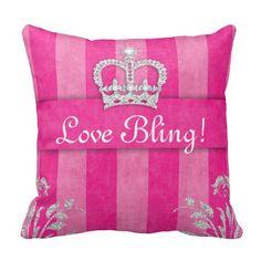 Princess Crown Pillow PInk Tiara Bling Customize this pretty pillow.