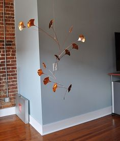 Ginkgo Mobile with 14 Copper Leaves: Jay Jones: Metal Sculpture - Artful Home
