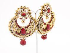Large Indian Bollywood Kundan Art Amrapali Maroon Burgundy Red Gold Vintage Earrings Chandelier Drop Dangle Bridal Wedding Party Prom by Glittzzandglamour on Etsy https://www.etsy.com/listing/215939735/large-indian-bollywood-kundan-art