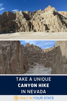 Take a unique hike through slot canyons at Cathedral Gorge State Park in Nevada. This beautiful hiking trail features cathedral-like rock spires, caves, and other natural formations. Gorges State Park, Best Bucket List, Slot Canyon, Hidden Beach, Swimming Holes, Ghost Towns, Natural Wonders, Caves, Hiking Trails