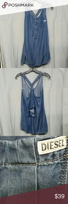 Diesel racerback dress size xxs Adorable little dress racerback style diesel brand adorable slit on the bottom one side this is an extra extra small material is 100% lyocell measurements laying flat armpit to armpit is 15 inches length from shoulder down is 32 inches Diesel Dresses