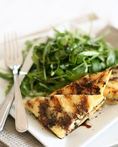 grilled polenta stuffed with blue cheese and walnuts.