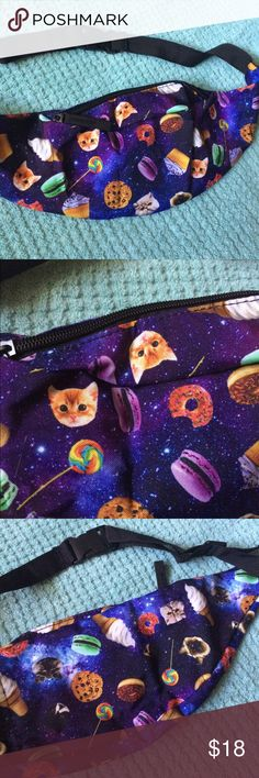 SALEGalaxy candy kitty festival fanny pack!  Brand new and never worn Galaxy print fanny pack with cats, lollipops, doughnuts, cookies, etc. super cute and excellent quality; holds a lot for its compact size . Perfect for any music festival, rave, or event! UO for exposure ✅check out all my items on vinted and mercari for less! (+cheaper shipping) Urban Outfitters Accessories