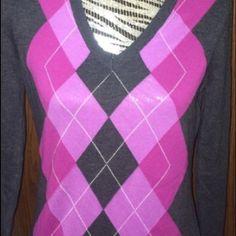 Izod sweater Argyle sweater grey and pink IZOD Sweaters