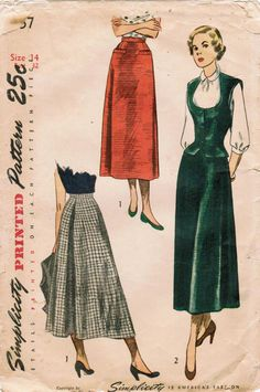 Love the mid calf length of these 1940s skirts (Simplicity 2757).