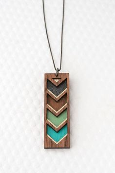 Chevron Stripe Necklace in Multiple Colors / Geometric Jewelry / Color Block / in Teal, Mint, Graphite, Walnut Wood on Etsy, $64.00 AUD
