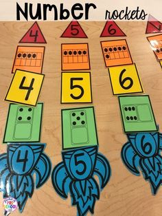 Space counting game! Space theme activities and centers (literacy, math, fine motor, stem, blocks, sensory, and more) for preschool, pre-k, and kindergarten #mathforchildren