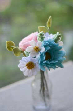 Rose Peony Daisy & Wildflower Felt Flower Bouquet by LeaphBoutique