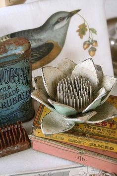 I too have this lotus shaped flower frog, I like the use of it in this sweet vignette. Vintage Stil, Shabby Vintage, Vintage Love, Vintage Industrial, Vintage Flowers, Vintage Decor, Vintage Antiques, Vintage Items, Vintage Vignettes