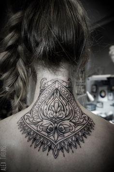 Neck Tattoo by Alex Tabuns | Tattoo Artist – Saint Petersburgh, Russia