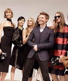 Christopher Bailey, CEO of Burberry and the models for Burberry