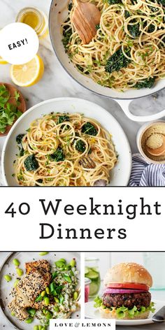 These quick and easy weeknight dinners are healthy and delicious. They include tasty tacos, pastas, stir fries, and more. The whole family will love them! | Love and Lemons #dinnerideas #easy #healthy #dinner Vegetarian Dinners, Vegetarian Recipes, Cooking Recipes, Healthy Recipes, Cooking Dishes, Slow Cooking, Delicious Recipes, Pasta Recipes, Creamy Vegan Pasta