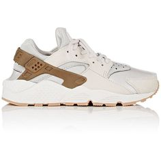 Nike Women's Air Huarache Run Premium Sneakers ($130) ❤ liked on Polyvore featuring shoes, grey, low profile shoes, round toe shoes, lace up shoes, gray shoes and round cap