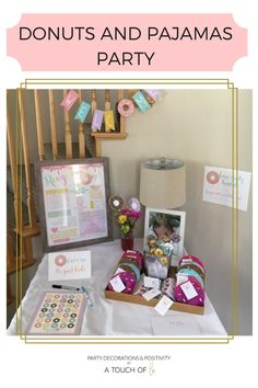 DONUTS AND PAJAMAS PARTY: AN EASY BIRTHDAY TO PLAN #donuts #pajamas #party #partyideas #partytheme #easyparty #athomeparty #adultparty #kidsparty #birthday #pjparty Donut Party, Pajama Party, 1st Birthday Parties, Birthday Party Decorations, Unique Party Themes, Having A Baby, Donuts, Pajamas, Valentines