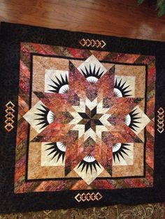 Summer Solstice quilt won First Place and Best of Show in it's category at the 2014 GA National Fair! Lone Star Quilt, Star Quilts, Quilting Projects, Quilting Designs, Medallion Quilt, Star Quilt Patterns, Quilt Making, Decoration, Summer Solstice