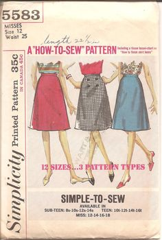 1960s A Line Skirt Pattern  Vintage Simplicity 5583 by ErikawithaK