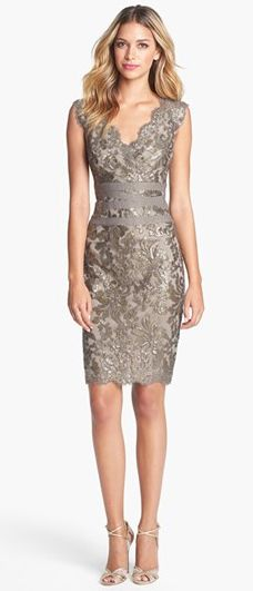 Embellished Metallic Lace Sheath Dress - Pretty for a Christmas Party