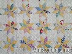 Beautiful Quilting! Small Scale Vintage 30s Yellow +Feedsack LeMoyne Stars QUILT