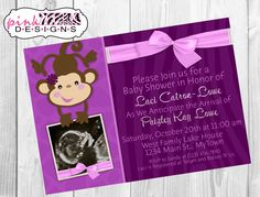 Purple Girly Monkey Baby Shower Invitation (Digital File Only)