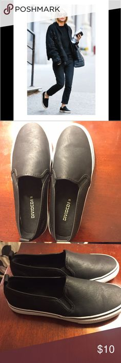 Black Slip-On Sneaker Basic black slip-on sneaker, only worn two or three times, in excellent condition! Divided Shoes Sneakers