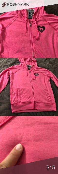 Victoria Secret Pink Hooded jacket Victoria Secret Pink Hooded jacket              Super cute and fun pink color jacket with vintage design on back. Has been worn a few times and has a small snag on front of jacket as pictured. Great for a cool or breezy day in spring or summer! PINK Victoria's Secret Other