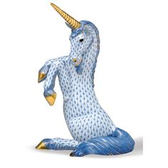 Herend Hand Painted Porcelain Figurine Unicorn Sitting Blue Fishnet Gold Accents.