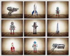ON SALE Set of 9 PHOTO prints Retro Space Rockets, Rayguns and Robots, Sci Fi Decor, Boys Room Decor, by shawnstpeter on Etsy https://www.etsy.com/listing/194402895/on-sale-set-of-9-photo-prints-retro