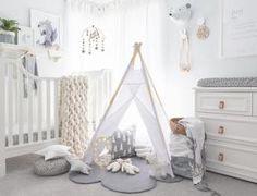 White, Nordic-inspired nursery with teepee - Photo via oh.eight.oh.nine.