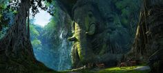 Environment Concept art of Lord Ganesha ruins place. Fantasy Places, Fantasy World, Fantasy Art, Environment Concept Art, Environment Design, Fantasy Setting, Animation Background, Matte Painting, Visual Development