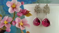 Ruby Pink Crystal Earrings Teardrops Fancy Cubic by Gemsicles