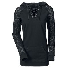 Stylish Lace Splicing Lace-Up Long Sleeve Hoodie For Women (BLACK,XL) in Sweatshirts & Hoodies | DressLily.com