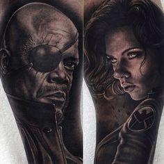 Avengers tattoo sleeve in progress by Rob Richardson http://instagram.com/savemyink