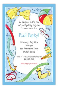 Swimming Pool Fun Invitation: Have a pool party with family,friends and neighbors.