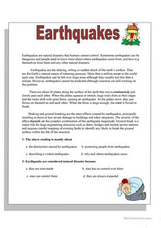 Earthquake Worksheet for Kids Earthquakes Worksheet Free Esl Printable Worksheets Made Comprehension Exercises, Reading Comprehension Activities, Reading Worksheets, Reading Fluency, Reading Passages, Worksheets For Kids, Reading Skills, Printable Worksheets, Teaching Reading