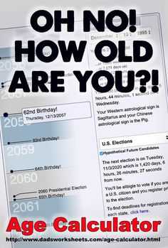 This age calculator allows you to enter your birthday and then it shows you each birthday for the next one hundred years, along with a ton of other interesting historical facts and events in your life. It's a lot of fun! Please check it out and share! Age Calculator, Savings Calculator, Fun Math Activities, Learning Resources, Free Printable Math Worksheets, Basic Math, Free Math, Math Facts, Math Teacher