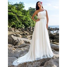 Lanting+Bride®+A-lijn+/+Prinses+Petite+/+Grote+Maten+Bruidsjurk+-+Chic+&+Modern+/+Elegant+&+Luxueus+Kapelsleep+Eén-schouder+Chiffon+met+–+USD+$+129.99